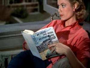 "Grace Kelly in the final scene of ""Rear Window,"" Image from clothesonfilm.com."
