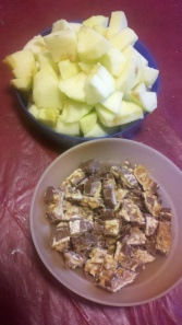 Chopped Apples and Candy Bar